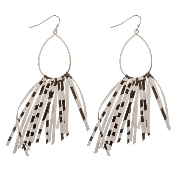 """Faux leather zebra print asymmetrical tassel earrings.  - Approximately 4"""" in length"""