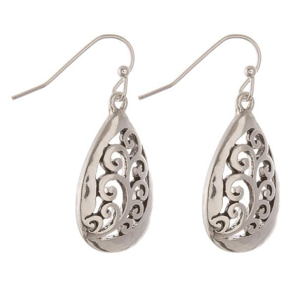 """Antique silver filigree teardrop earrings.  - Approximately 1"""" in length"""