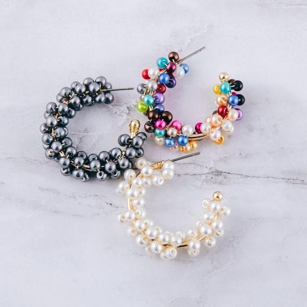 """Pearl beaded open hoop earrings.  - Approximately 1"""" in diameter"""