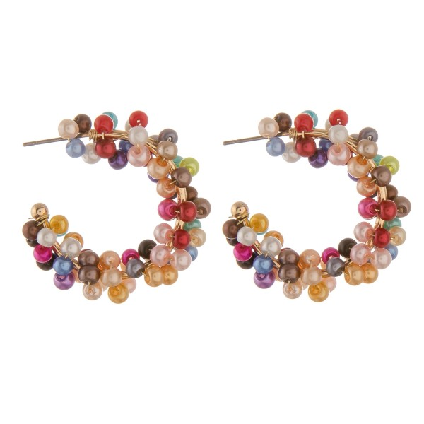Wholesale pearl beaded open hoop earrings diameter