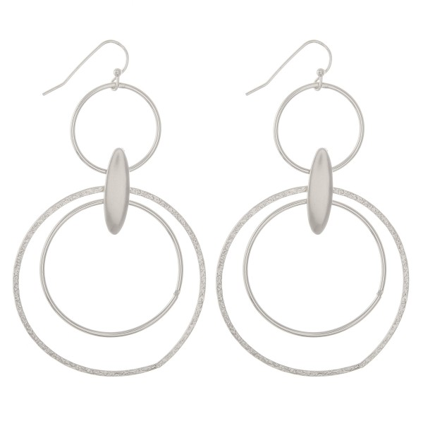 """Plated brass hinge circle drop earrings.  - Approximately 3"""" in length"""
