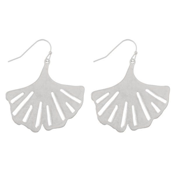 "Metal ginkgo leave drop earrings.  - Approximately 2"" in length"
