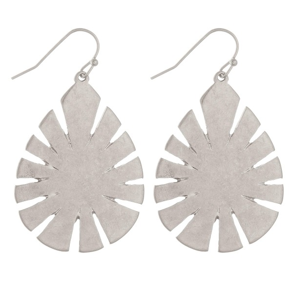 "Metal leaf teardrop earrings.  - Approximately 2.25"" L"