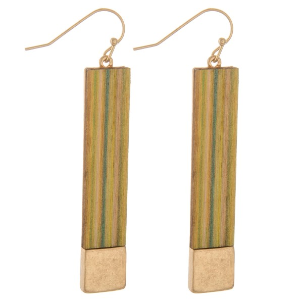 "Striped wood bar earrings.  - Approximately 2.5"" L"