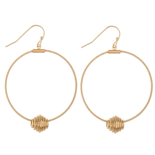 """Textured plated brass modern earrings.  - Approximately 2"""" L  - 1.5"""" in diameter"""
