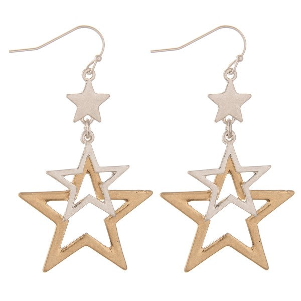 """Two tone metal cut out star dangle earrings.  - Approximately 2.5"""" L"""