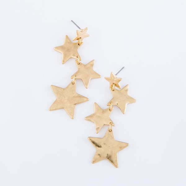 "Irregular Hammered Star Linked Drop Earrings in Worn Gold.  - Approximately 2"" L"