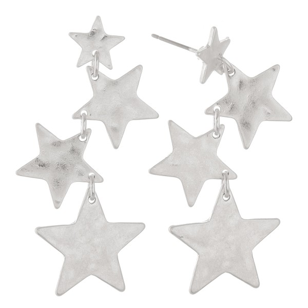 "Irregular Hammered Star Linked Drop Earrings in Worn Silver.  - Approximately 2"" L"