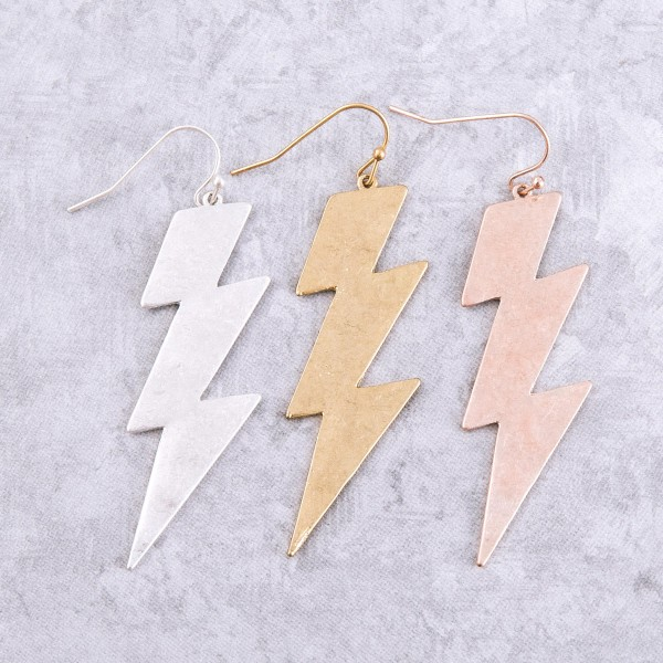 "Hammered lightning bolt drop earrings.  - Approximately 2.5"" L"