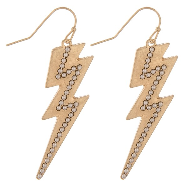 """Two tone studded lightning bolt drop earrings.  - Approximately 2"""" L"""