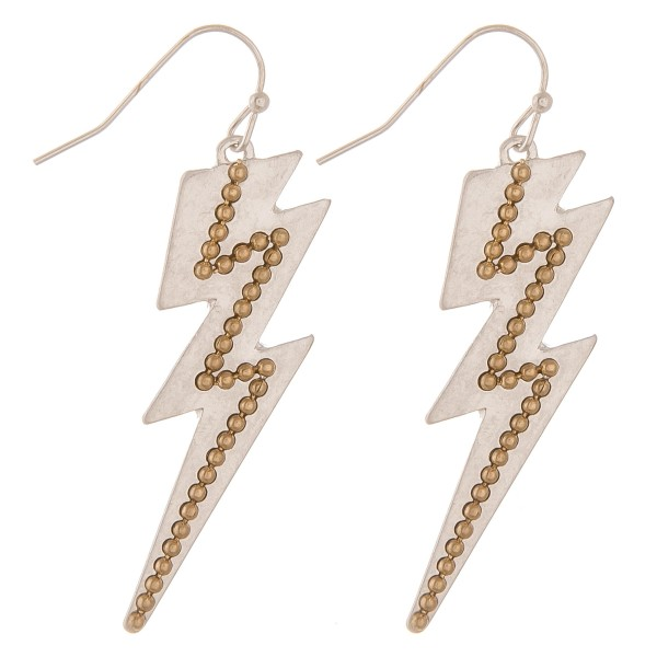 "Two tone studded lightning bolt drop earrings.  - Approximately 2"" L"
