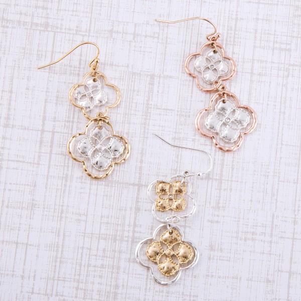 "Two tone quatrefoil nested dangle earrings.  - Approximately 2"" L"