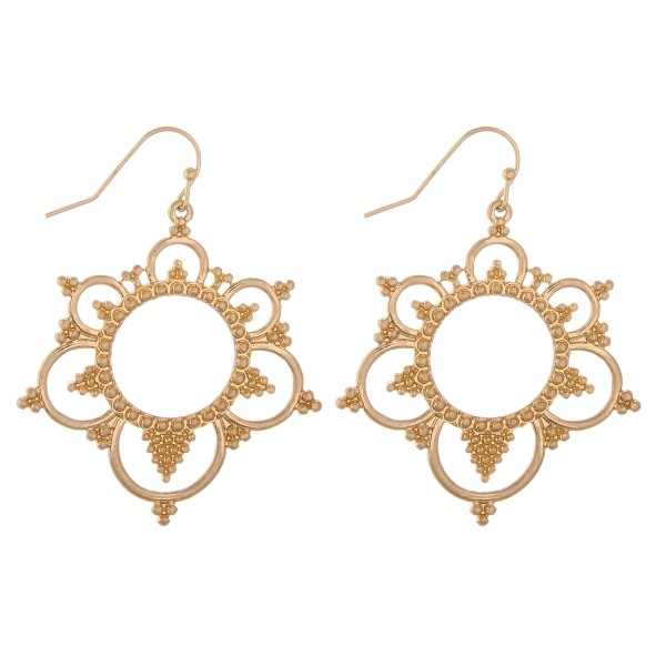 """Tailored cut out floral drop earrings.  - Approximately 2"""" L"""