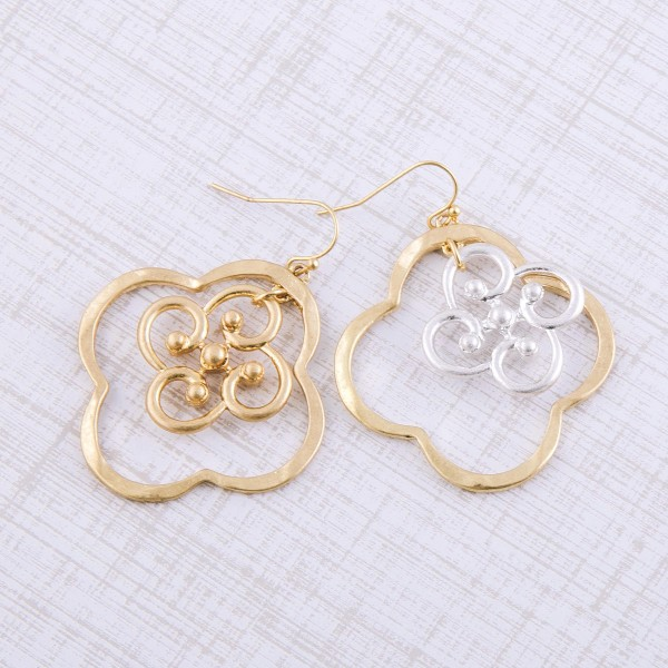 """Two tone metal filigree nested clover drop earrings.  - Approximately 2"""" in length and 1.5"""" in diameter"""