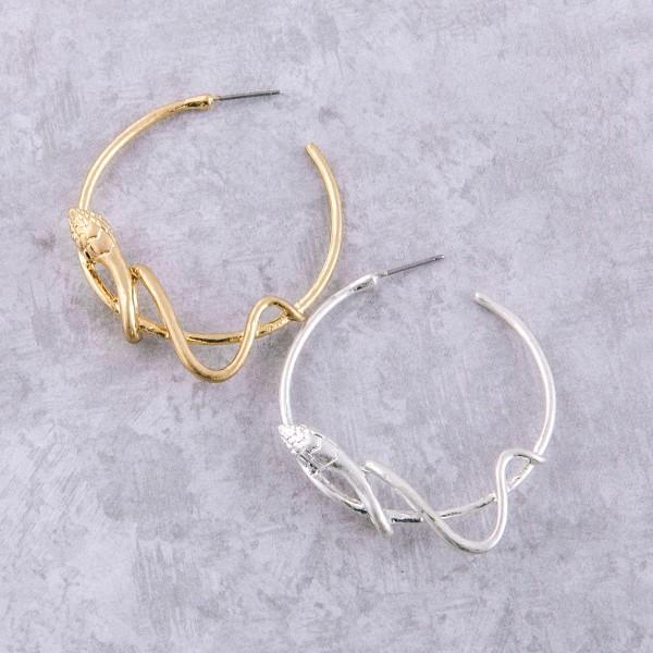 "Designer inspired metal snake hoop earrings.  - Approximately 2"" in diameter"