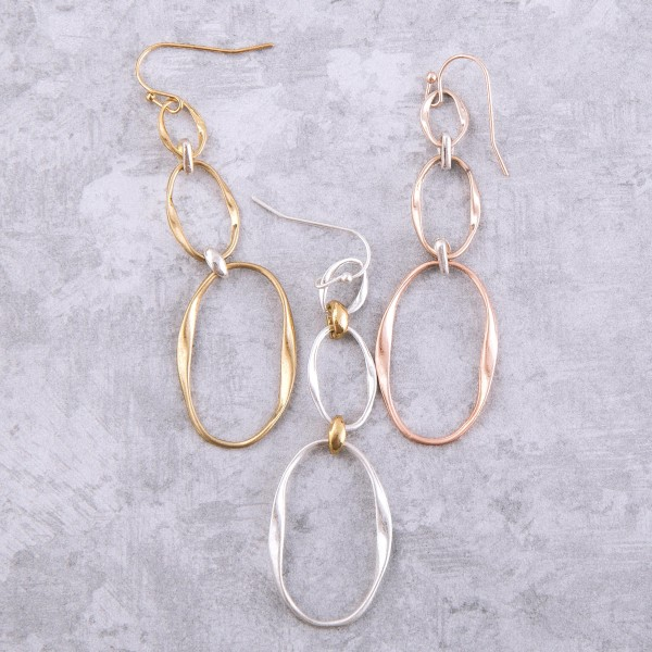 """Two tone metal irregular oval dangle earrings.  - Approximately 3"""" L"""