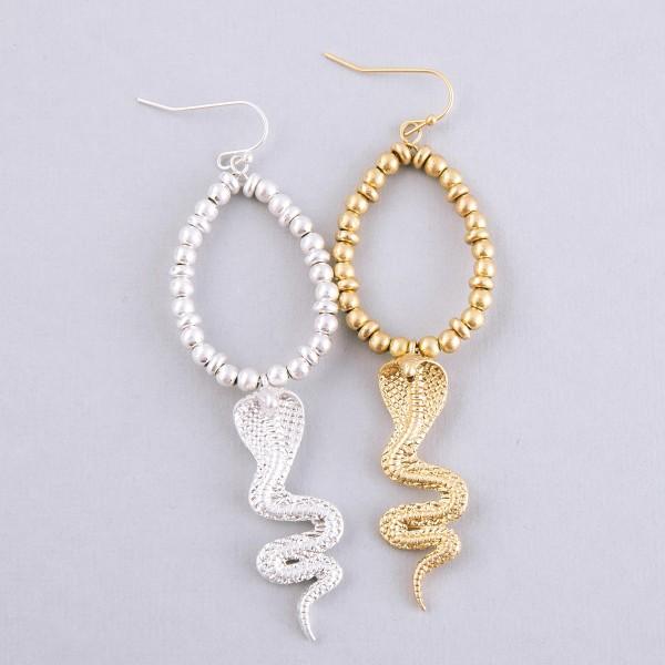 """Bubble beaded metal cobra teardrop earrings.  - Approximately 3.5"""" L"""
