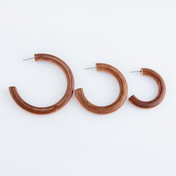 "Wood hoop earrings.  - Approximately 2"" in diameter"