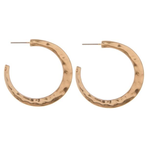 "Hammered open hoop earrings.  - Approximately 1.5"" in diameter"