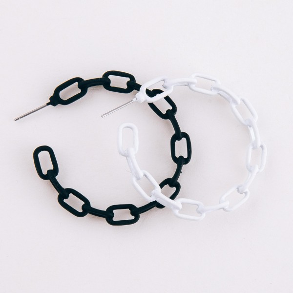 """Coated metal chain link hoop earrings.  - Approximately 1.75"""" in diameter"""