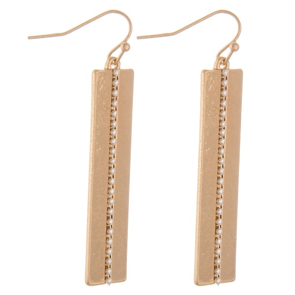 """Two tone studded metal bar earrings.  - Approximately 2"""" L"""