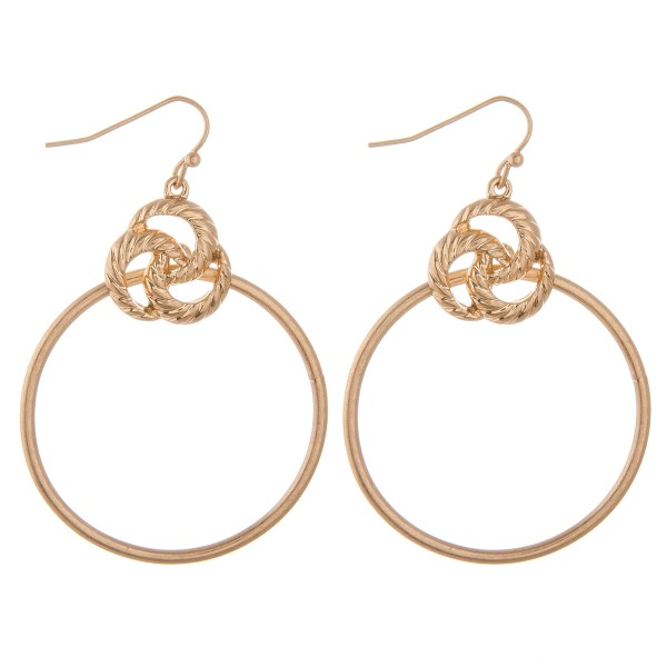 "Knotted metal disc drop earrings.  - Approximately 2"" L  - 1.5"" in diameter"