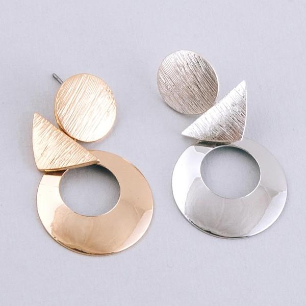 """Metal geometric modern drop earrings.  - Approximately 2"""" L"""
