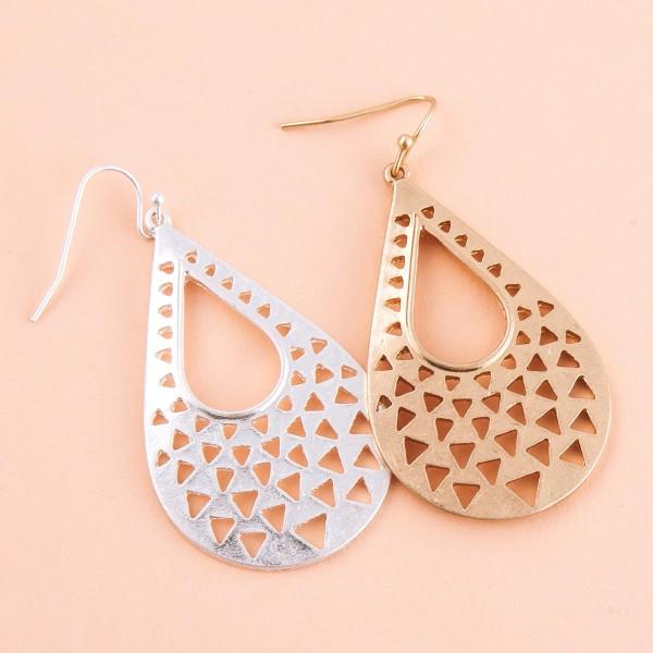 """Metal triangle cut out modern teardrop earrings.  - Approximately 2.5"""" L"""