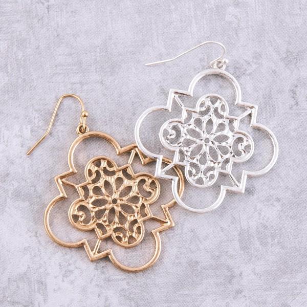 "Metal floral filigree cut out quatrefoil drop earrings.  - Approximately 1.5"" L"