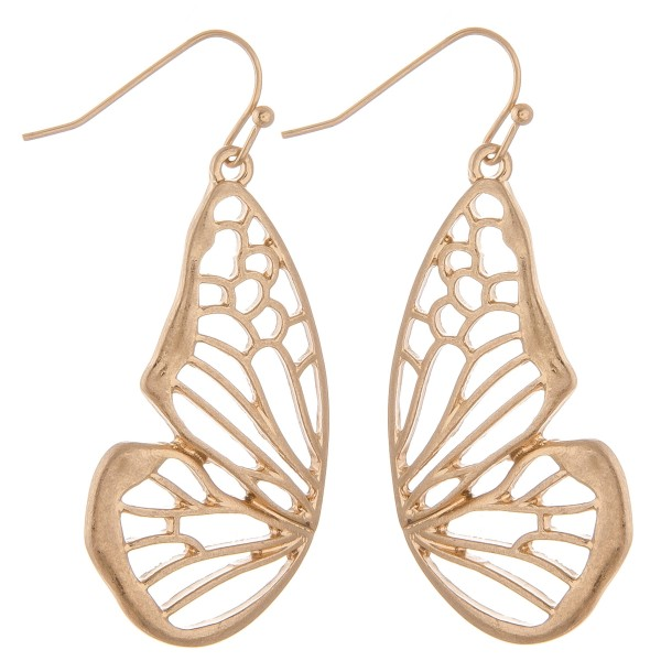"Metal cut out butterfly earrings.  - Approximately 2"" L"