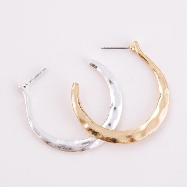 "Hammered open hoop earrings.  - Approximately 1.75"" in diameter"