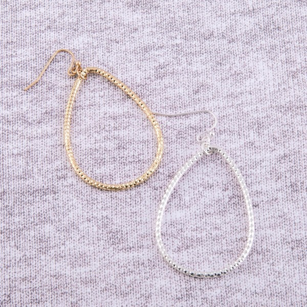 """Shiny textured teardrop earrings.  - Approximately 2.5"""" in length"""