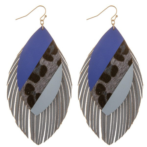 "Faux leather leopard print color block fringe tassel statement earrings.  - Approximately 4"" L"