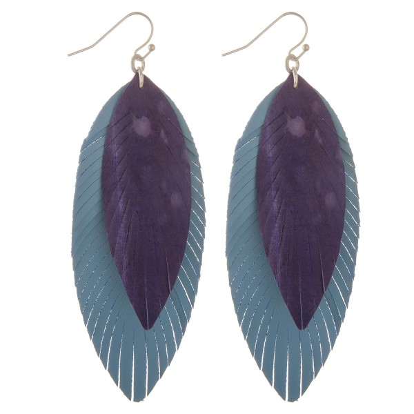"Faux leather water spot narrow layered feather earrings.  - Approximately 4"" L"