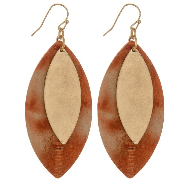 "Faux leather water spot pointed oval drop earrings with metal accent.  - Approximately 3"" L"