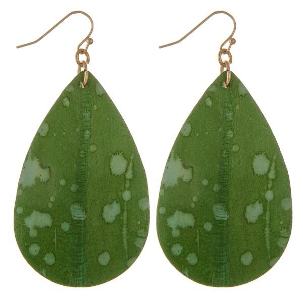 """Faux leather water spot teardrop earrings.  - Approximately 3"""" L"""