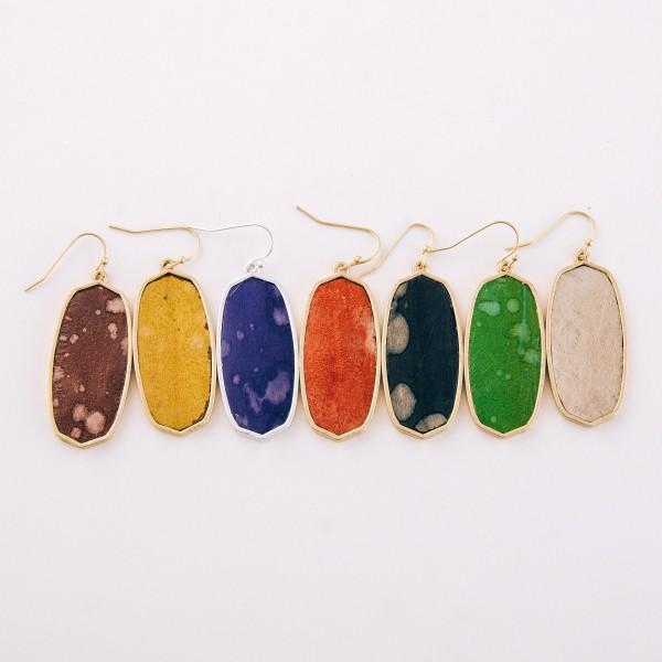 """Faux leather encased water spot oblong drop earrings.  - Approximately 2"""" L"""
