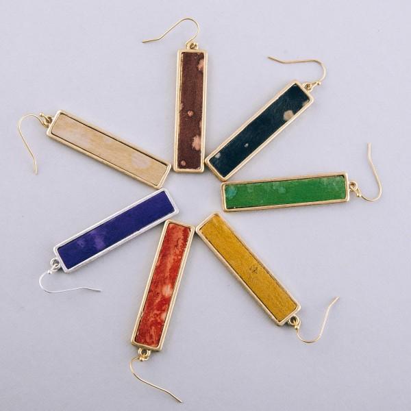 """Faux leather encased water spot bar earrings.  - Approximately 2.25"""" L"""