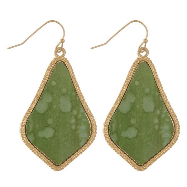 """Faux leather encased water spot pointed teardrop earrings.   - Approximately 2"""" L"""