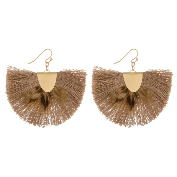 """Feather fringe tassel bohemian drop earrings.  - Approximately 2"""" L - 2.5"""" in width"""
