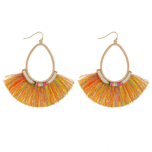 "Fringe tassel spacer beaded teardrop statement earrings.  - Approximately 3"" L - 3"" in width"