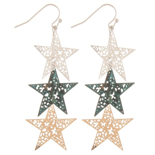 "Filigree star dangle earrings.  - Approximately 3"" L"