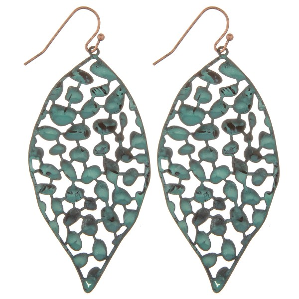 "Metal curved filigree leaf drop earrings.  - Approximately 2.5"" L"