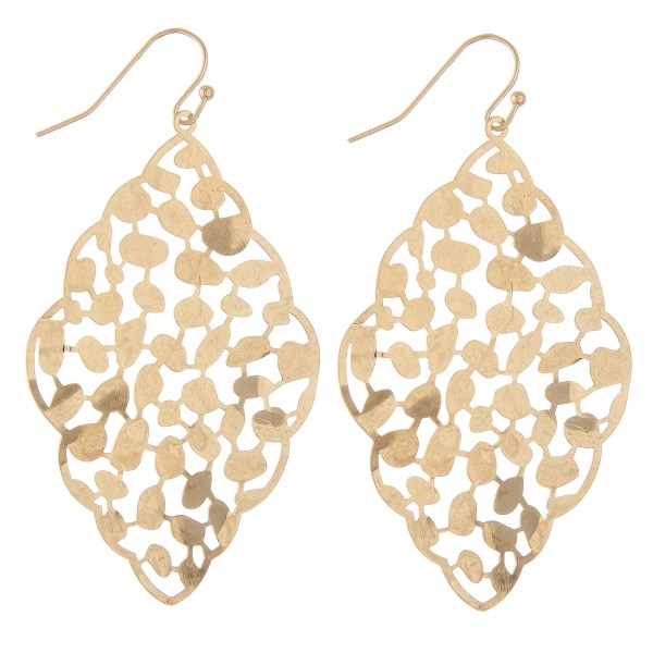 "Curved leaf filigree moroccan drop earrings.  - Approximately 2.5"" L"