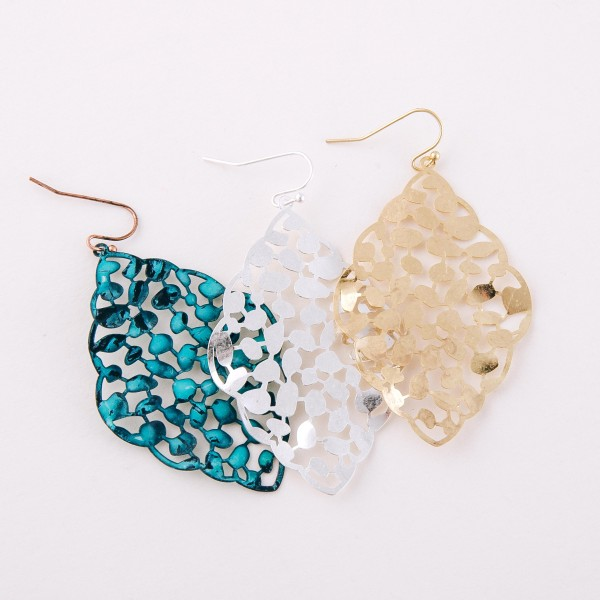 """Curved leaf filigree moroccan drop earrings.  - Approximately 2.5"""" L"""