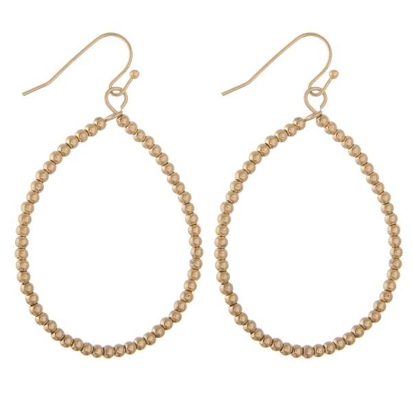 """Metal tone beaded teardrop earrings.  - Approximately 2"""" L"""