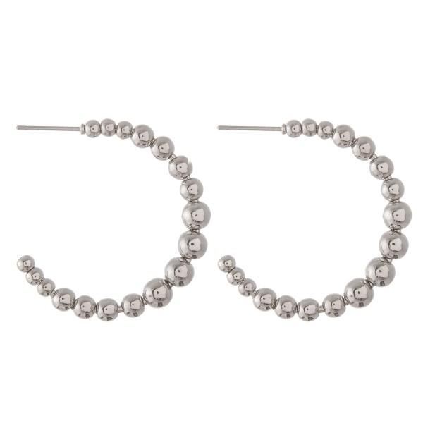 Wholesale metal Ball Beaded Open Hoop Earrings diameter