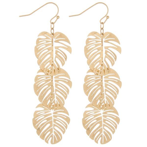 "Metal palm leaf dangle earrings.  - Approximately 3"" L"