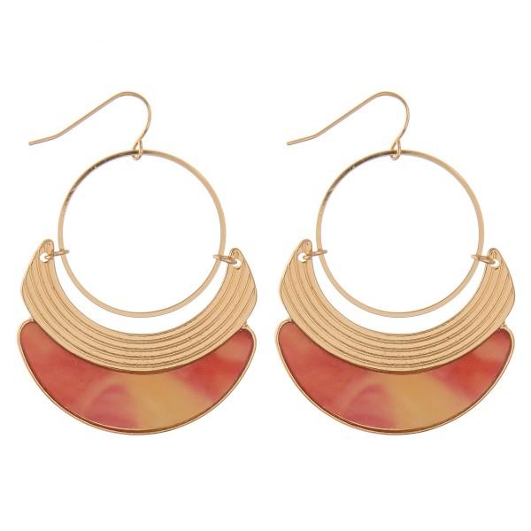"Gold metal modern shell drop earrings.  - Approximately 2"" L"