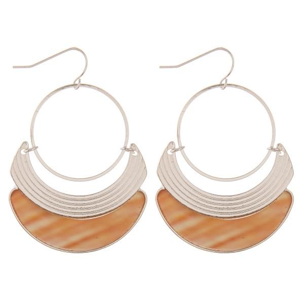 """Silver metal modern shell drop earrings.  - Approximately 2"""" L"""